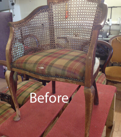 Reupholstered Cane Chair Before And After