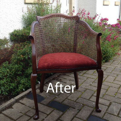 Reupholstered Cane Chair After