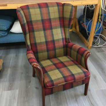 Parker knoll chair in a tartan fabric