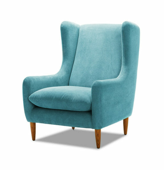 upholstered blue chair