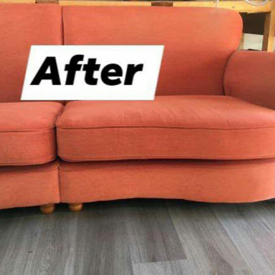 red sofa after new foam cushions