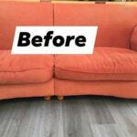 red sofa before new foam cushions