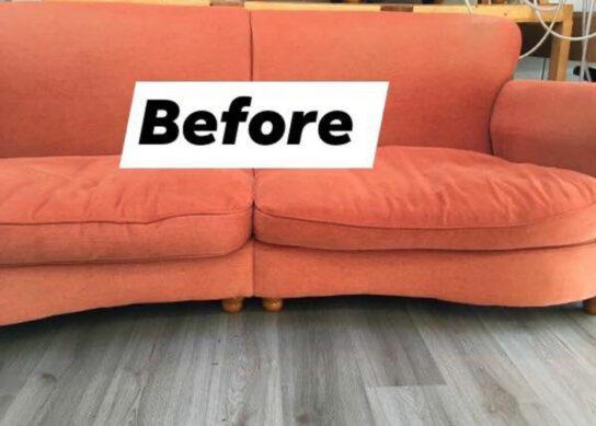 sofa before new foam cushions