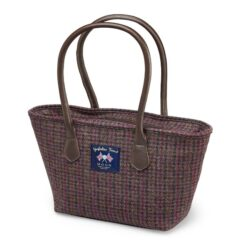 Burgundy Dogstooth pattern tote bag Bronte by Moon
